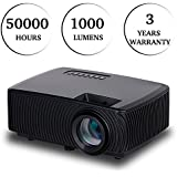 MDROKUN Multimedia Home Theater Video Projector 4 Inch LED Portable Video Projector - 50,000 Hour LED Home Theater Projector Supporting 1080P, HDMI, USB, VGA, TVs, Laptops, Games, Smartphones(Black)
