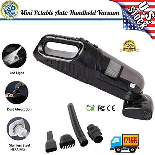 Handheld Mini Car Vacuum Cleaner, Portable DC 12V 90w High Power Dual-Motor 4000Pa Stronger Dry&Wet Suction for Home and Car Cleaning (Black)