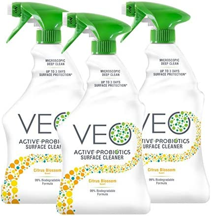 VEO Active-Probiotics Surface Cleaner – Citrus Blossom Scent Spray 22 oz (Pack of 3)