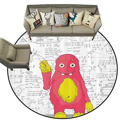 Round Floor CoverKids Decor Funny Smart Monster Doing Math on Wall Science Nerds Comic Illustration Living Dining Room Bedroom Hallway Office Carpet D71 Pink Yellow White