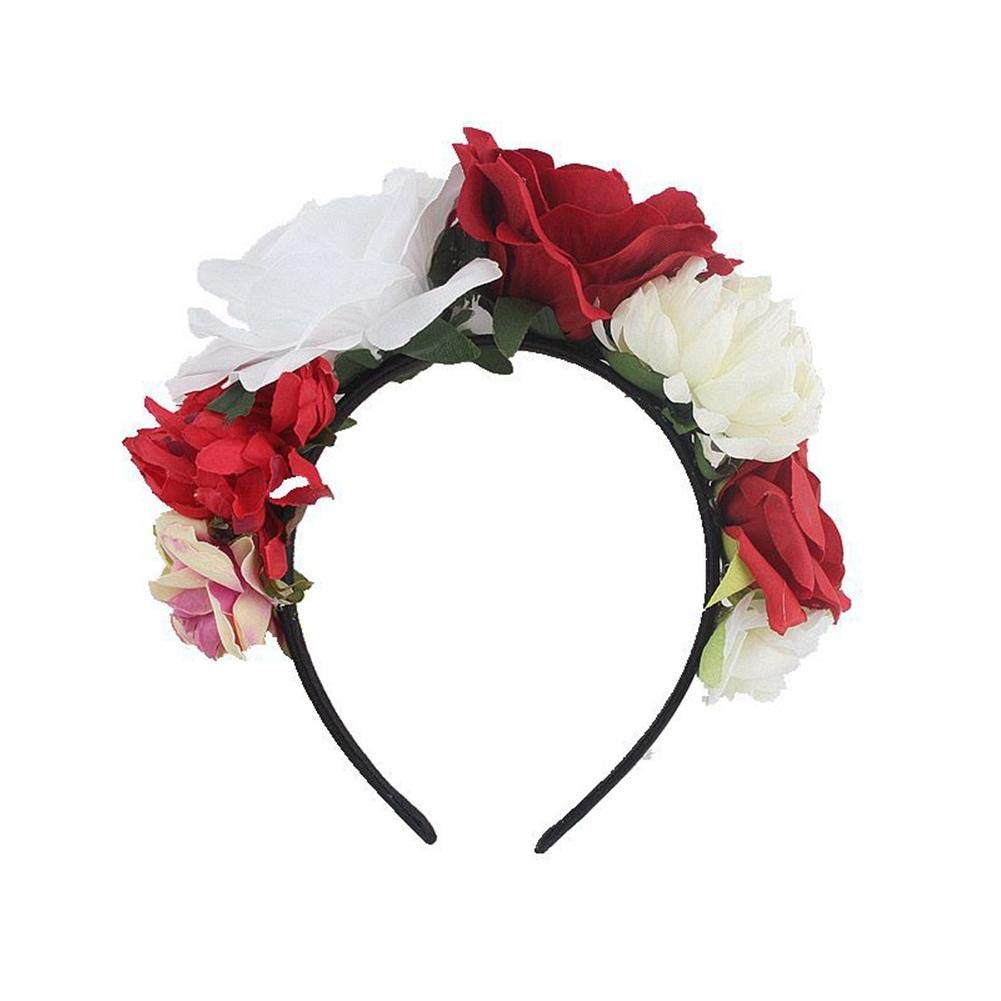 Fancylande Rose Flower headband,Multicolor Rose Christmas Wreath for Party Wedding Festival Hair Accessory Photo Props Headpiece Christmas Floral Day The Dead Costume Wreath Girls Hairbands