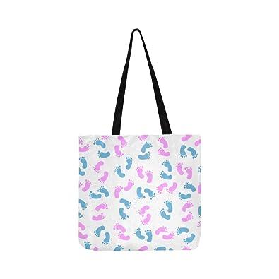 f783a0612227 Cute And Colorful Baby Footprints Canvas Tote Handbag Shoulder ...