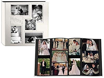 """Pioneer Collage Frame Embossed""""Wedding"""" Sewn Leatherette Cover Photo Album, Ivory"""