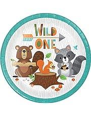 "Creative Converting Wild One Woodland Dessert Plates, 8 ct, Multicolor, ""7"""""""