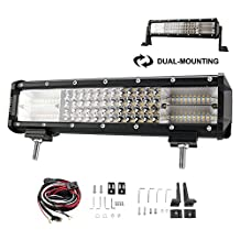 Liteway 12 inch 252W CREE LED Light Bar Quadruple Rows Combo Beam Daytime Running Light for Off Road Jeep ATV SUV 4WD Work Driving Lamp, Updated Version, 1 Year Warranty