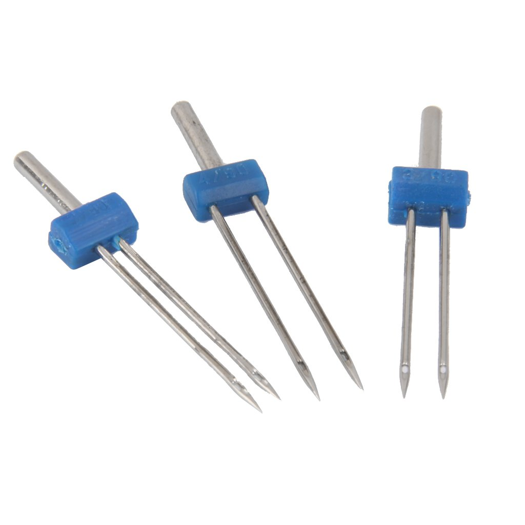 Homyl 3 Pairs Stainless Steel Twin Needles, Double Twin Needles for Household Sewing Machine,Size 2.0/90 3.0/90 4.0/90