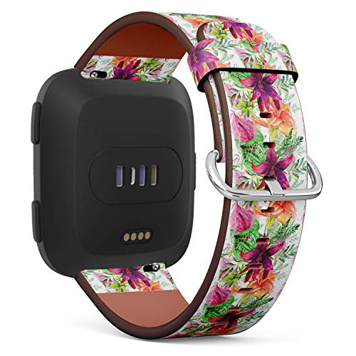 (Tiger Lily Watercolor Illustration with Tropical Flowers and Leaves - Patterned Leather Wristband Strap Compatible with Fitbit Versa)