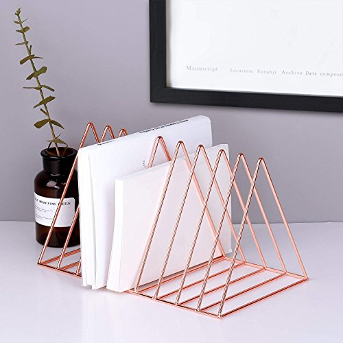 Reliancer File Organizer Triangle Iron Desktop Storage Book Rack Bookshelf Copper Magazine Newspaper Holder Art Desktop Organizer Wire Collection 9 Section for Office Home Decoration(Rose Gold)