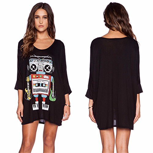 Black JYE Flare Round Casual colorful Printed Neck Black Loose Womens Dress Sleeve Robot rOWqnr0X7