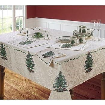 Spode Ivory Christmas Tree Tablecloth 60 X 84
