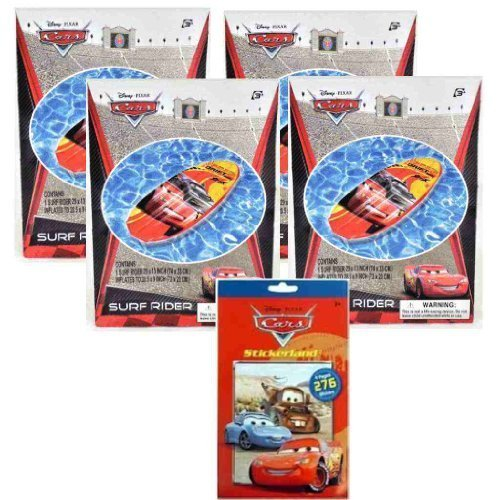 """Pixar Cars 5 Item Pool Toys Party Set for Kids - Disney Cars Summer Fun Pool Toy Set - Inflatable Raft Party Set for Kids - 4 Cars Inflatable Surf Rider Pool Floats (29"""") and Cars Stickers Pad (4 Sheets) - Great Cars Pool Party Supplies and Favors for Kids"""
