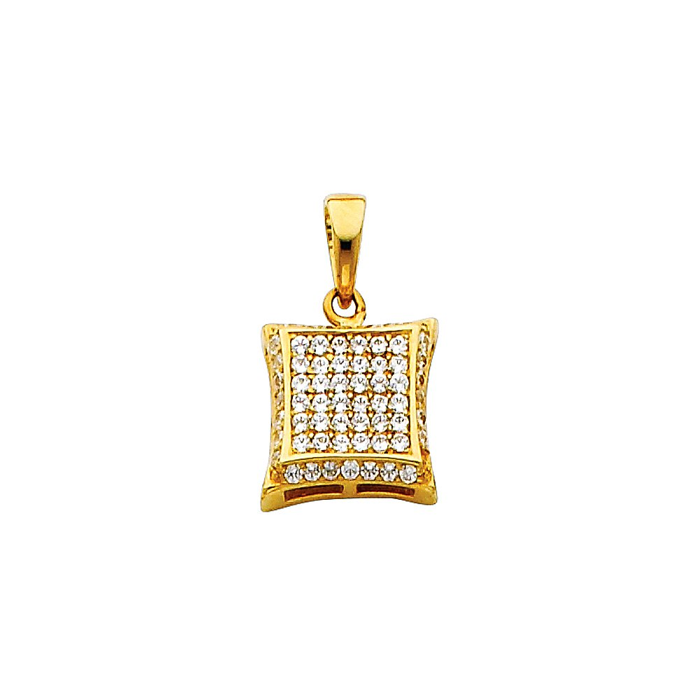 14k Yellow Gold Curved Square CZ Pendant with 1.2mm Cable Chain Necklace