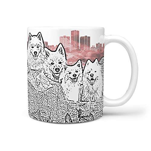 - American Eskimo Dog Mount Rushmore Art Print 360 White Mug