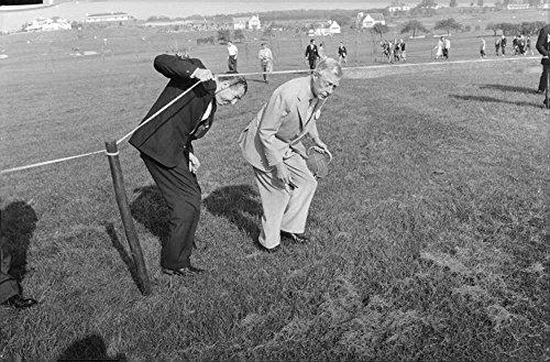 Dukes Rope - Vintage photo of Duke of Windsor walking below the rope tied across.