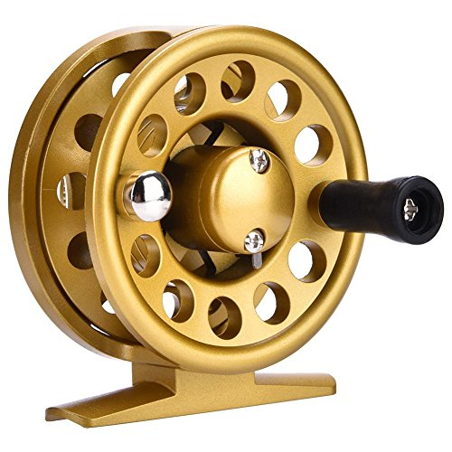 Alomejor 1Pc Fly Fishing Reel Waterproof 2+1BB Engineering Plastic Fishing Reel Left and Right Hand Interchangeable Fishing Accessory(60型号-Gold)