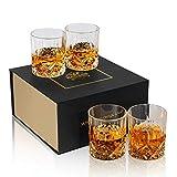 KANARS WG02 Whisky Glasses, Set of 4, Lead-Free Crystal Whiskey Glass, 300ml Tasting Tumblers for Drinking Scotch, Bourbon, Whisky, Brandy - Luxury Gift Box, Dishwasher Safe
