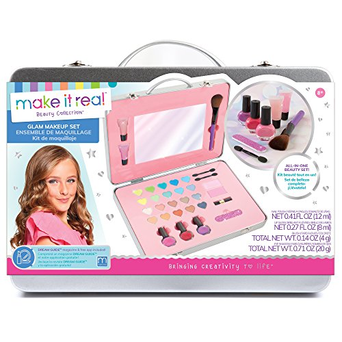 Make It Real - All-in-One Glam Makeup Set. Girls Makeup Kit is a Perfect Starter Cosmetic Set for Kids and Tweens. Includes Case, Mirror, Eye Shadow, Blush, Brushes, Lip Gloss, Nail Polish and More ()