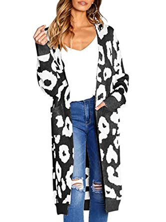 d5b3b7a1362c Women's Leopard Print Cardigan Coatt Long Sleeve Sweater Coat with Pocket  Black Small.