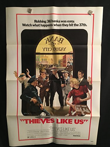 Thieves Like Us 1974 Original Vintage One Sheet Movie Poster, Robert Altman, Shelley Duvall, Keith Carradine, Bank, Robbers, Gangster, Mobster, Mob