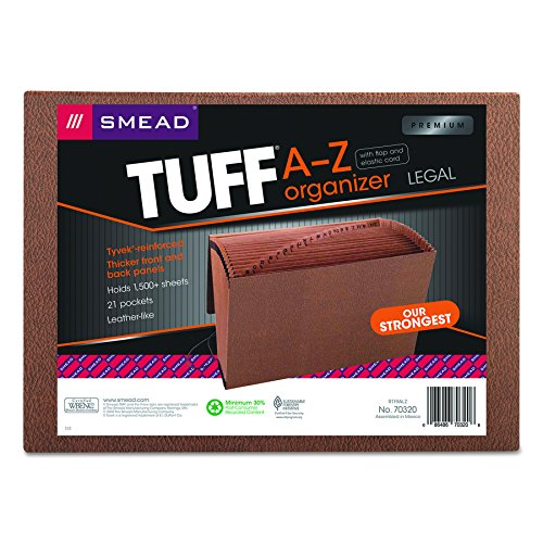 Smead TUFF Expanding File, 21 Pockets, Alphabetic (A-Z), Flap and Cord Closure, Legal Size, Redrope (70320)