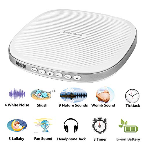 Three Sheep White Noise Machine, Baby Sleep Sound Machine with 20 Soothing Sounds, Sleep Timer, Headphone Jack, Rechargeable and USB Socket for Adult and Children (S5 20 Sound ()