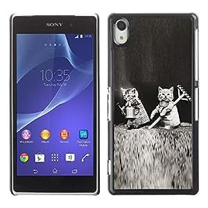 PC/Aluminum Funda Carcasa protectora para Sony Xperia Z2 D6502 D6503 D6543 L50t L50u Cute Kittens Black White Funny Love / JUSTGO PHONE PROTECTOR