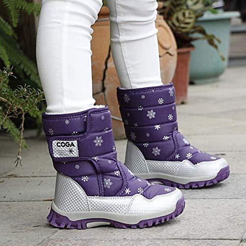 Calflint Boys Girls Outdoor Waterproof Winter Fur Snow Boots Cold Weather  Kid Shoes Snow Boots