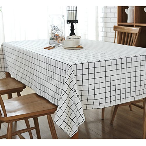Basic Tablecloth (Elome Washable Classic Square Cotton Linen White Check Tablecloth, Basic Everyday Tablecloth Dinner Picnic Table Cloth Home Decoration Assorted Size (55 Inch x 55 Inch))