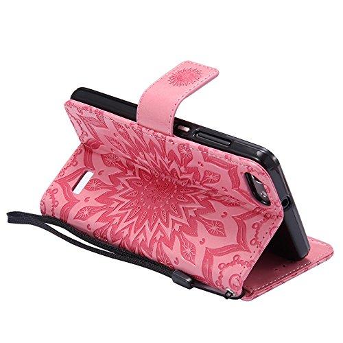 YAJIE-Carcasa Funda Para el caso de Huawei Honor 4C, Sun Flower Printing Design PU Leather Flip Funda de protección de la correa del monedero con ranura para tarjeta de soporte ( Color : Green ) Pink