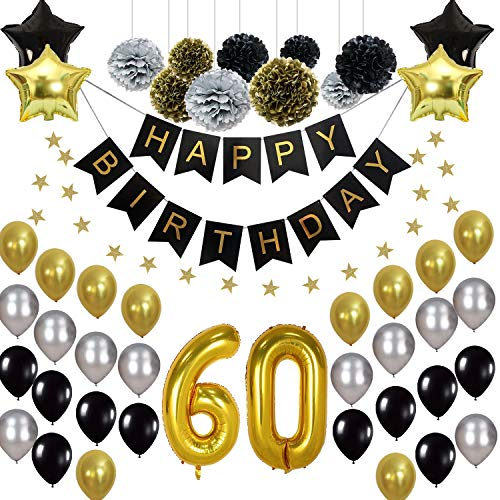 60th Happy Birthday Party Supplies Kit, (47pcs) - Silver, Black and Gold - 60th Birthday Decorations (Helium Balloons, Banner & Paper Flowers) - for Men, Women, Boys & Girls -