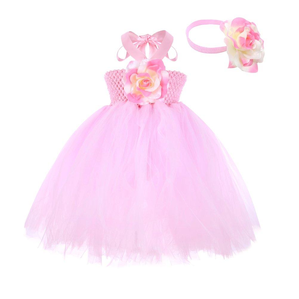 Moon Kitty Baby Girls Christmas Tutu Dresses Handmade 3D Flower Cute 2PCS Infant Dress Custome