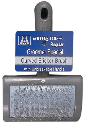 Millers Forge Stainless Steel Pins Universal Curved Pet Slicker Brush with Plastic Handle, Regular (Grooming Dog Forge)