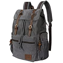 Lifewit 17.3 Laptop Canvas Backpack Unisex Vintage Leather Casual School College Bags Hiking Travel Rucksack Business Daypack