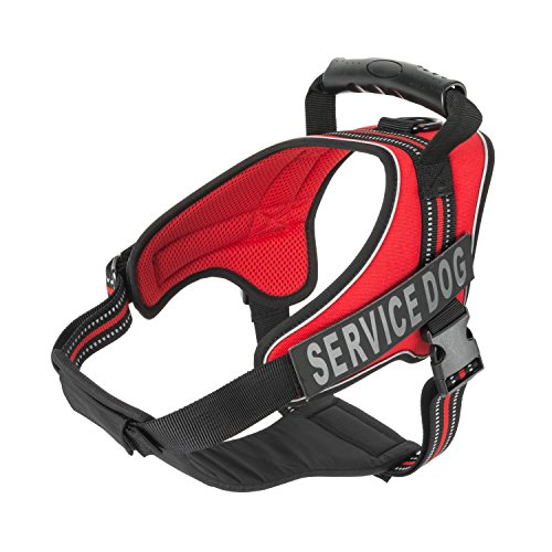 Service Dog Vest Harness - Military Grade Assistance Dog Harness With Removable Reflective Velcro Patches - Comfortable & Safe - Handle For Maximum Training, Walking Control - FREE ADA eBook (L, Red)