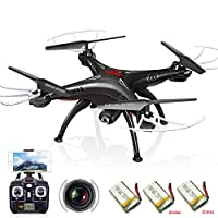 Cheerwing Syma X5SW Wifi FPV Drone with Camera Live Video RC Headless Quadcopter with Extra 2 Batteries by Syma
