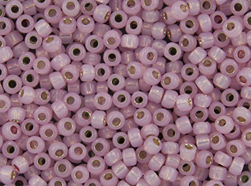 8/0 Toho Japanese Glass Seed Beads - Permanent Finish Pink Opal Silver Lined #PF2105 (14g Tube)