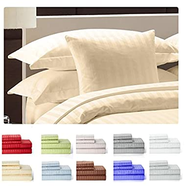 Lux Decor Collection Egyptian High Quaility Queen Sheet Set 1800 Thread Count 4 Piece Deep Pocket Striped Bed Sheet Set- 4 pieces Set -(Queen, vanilla)