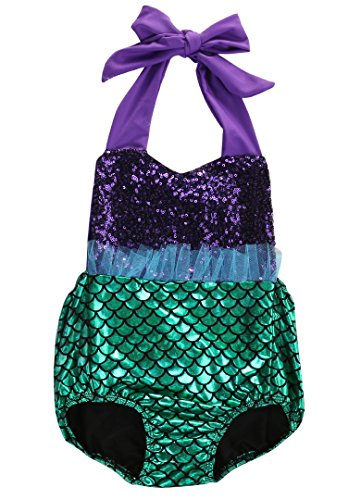 [Baby Girl Sequins Little Mermaid Halter Bodysuit Romper Jumpsuit Outfit Sunsuit (6-12 Months,] (Infant Mermaid Outfit)