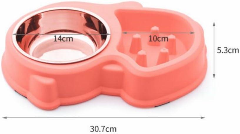 GSHWJS Voerbak Slow Food Bowl Anti-mijt Stop Eten Bowl Kunststof voerbak voerbak (Color : Pink) Pink