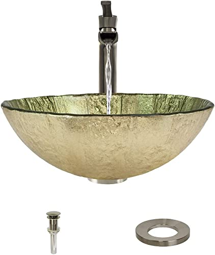623 Brushed Nickel Bathroom 731 Vessel Faucet Ensemble Bundle – 4 Items Vessel Sink, Vessel Faucet, Pop-Up Drain, and Sink Ring