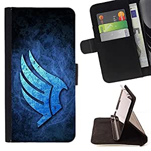 DEVIL CASE - FOR Apple Iphone 6 - Blue Wings - Style PU Leather Case Wallet Flip Stand Flap Closure Cover