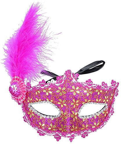 Simplicity Lace Venetian Masquerade Mask with Rhinestone & Flower (2988_Rose)