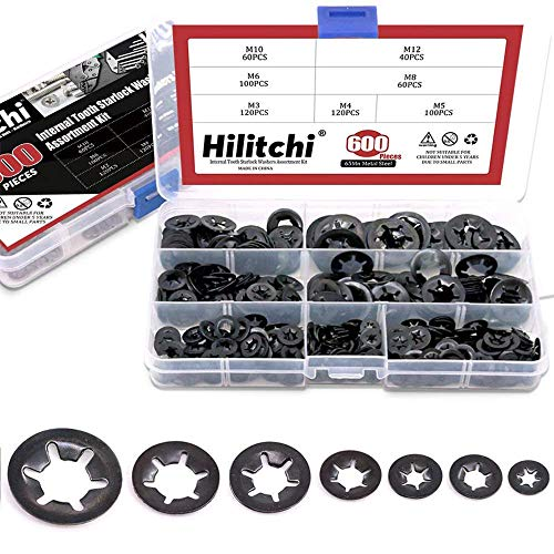Hilitchi 600-Pcs [7-Size] Internal Tooth Starlock Washers Assortment Kit, Quick Speed Locking Washers, Black Oxide ()