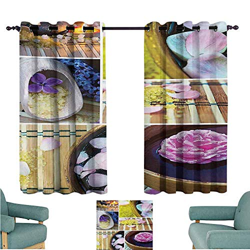 DONEECKL Bedroom Curtains 2 Panel Spa Spa Organic Cosmetics Theme Wooden Bowl Petals Lavender Candle Pebbles Therapy Oil Noise Reducing Curtain W55 xL63 Purple Brown