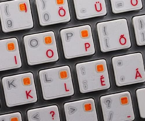 HUNGARIAN KEYBOARD STICKER WITH RED LETTERING ON TRANSPARENT BACKGROUND