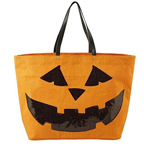 Mud Pie Halloween Dazzle Jute Tote Bag (Orange) (Halloween Bag Tote)