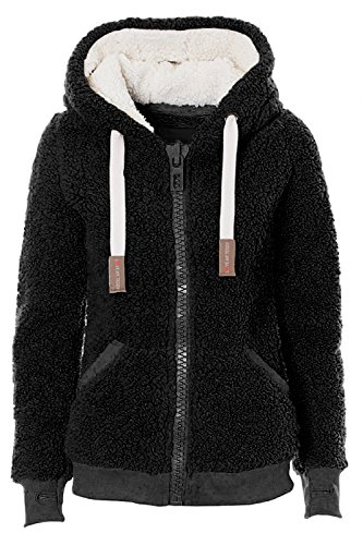 Kooos Ladies Womens Soft Teddy Sherpa Fleece Hooded Jumper Hoody Jacket Coat (DK008-Black, S)