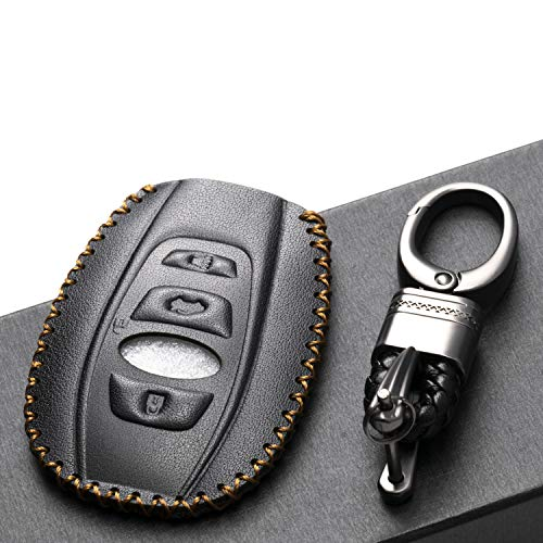 Vitodeco Subaru Leather Keyless Entry Remote Control Smart Key Case Cover with a Key Chain for 2019 Subaru Forester, Impreza, Outback, WRX, BRZ, XV Crosstrek (4-Button, Black)