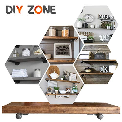 Pipe Bracket (6 pcs Black Steel) - Industrial DIY Pipe Shelf Bracket for Wood Floating Shelf Vintage Look - Rustic Pipe Decor Wall Mount with All Accessories Needed (Shelf Not Included) (6) by DIY ZONE (Image #3)