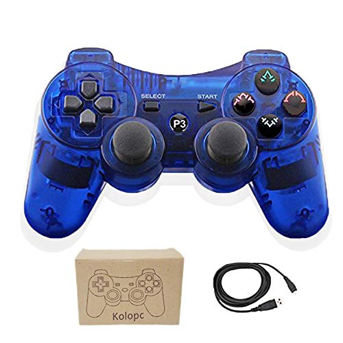 Kolopc Wireless Controller Gamepad Remote for PS3 Playstation 3 Double Shock - Bundled with USB Charge Cord (Clear Blue1)